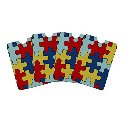 ersity Puzzle Pieces Credit Card RFID Blocker Holder Protector Wallet Purse Sleeves Set of 4 (Awareness Card Sets)