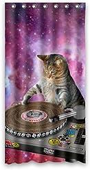 36 X 72 Cool Galaxy DJ Cat Funny Animal Pet Design Mildew Proof Polyester