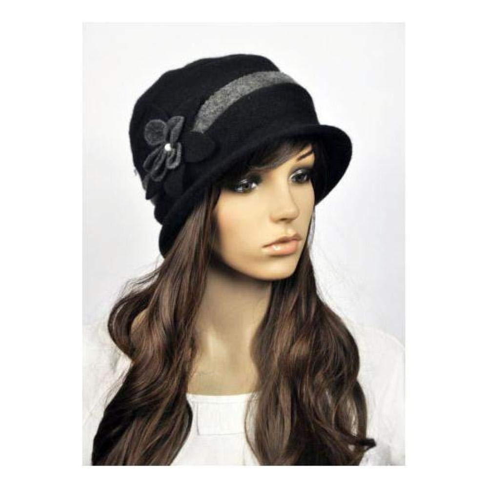 d059768cda FidgetFidget Winter Hat Cap M81 Black Wool Cashmere Cute 2-Tone Flower  Women's at Amazon Women's Clothing store: