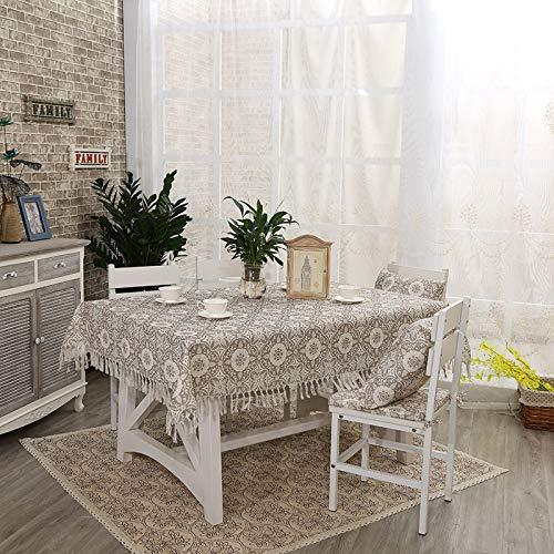 C 135220cm Myzixuan Cuisine de tissu Tables dinantes de nappe frangée coton lin nappe-ménage table rectangulaire tissu Tableclot H