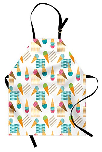 Ambesonne Ice Cream Apron, Pattern in Scandinavian Style Cones with Colorful Scoops and Geometric Design, Unisex Kitchen Bib Apron with Adjustable Neck for Cooking Baking Gardening, Multicolor