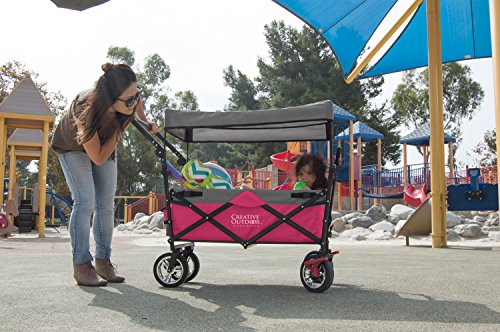 folding wagon for kids beach foldable canopy with sun rain shade hot pink animals pet. Black Bedroom Furniture Sets. Home Design Ideas