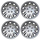 Tuningpros WC3-15-1028-S - Pack of 4 Hubcaps - 15-Inches Style 1028 Snap-On (Pop-On) Type Metallic Silver Wheel Covers Hub-caps