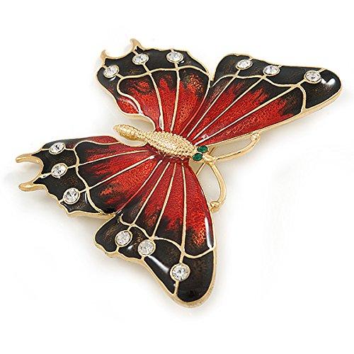 80mm Across Avalaya Oversized Red//Dark Brown Enamel Butterfly Brooch in Gold Plating