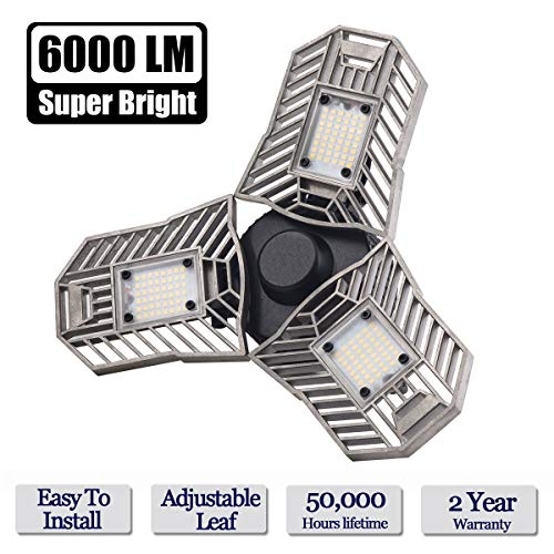 LED Garage Light, 60W E26/E27 6000LM Deformable Ceiling Lighting for Full Area, LED Light Bulbs for Workshop, barn, Warehouse etc.