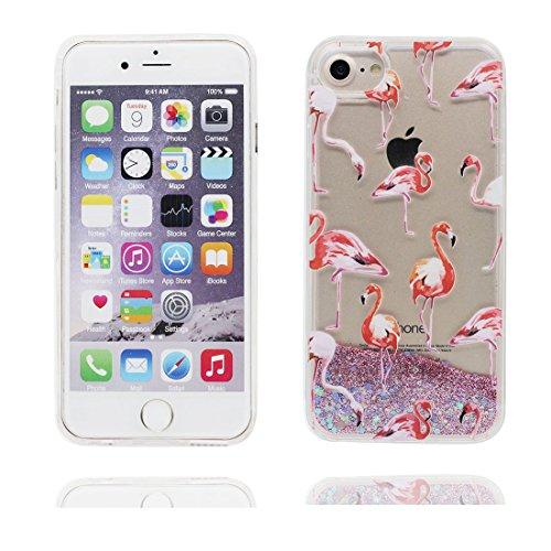 """iPhone 6 Coque, [Bling Glitter Coeur en forme- Flamant] iPhone 6s étui Cover (4.7""""), Fluide Liquide Sparkles Sables iPhone 6 Case (4.7""""), Shell anti- chocs"""