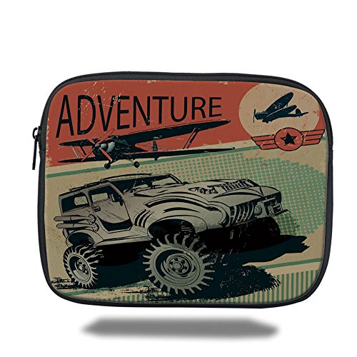 Laptop Sleeve Case,Adventure,Aged Damaged Display with Retro Elements Strong Vehicle and Airplanes Print Decorative,Tan Orange Green,iPad Bag by iPrint