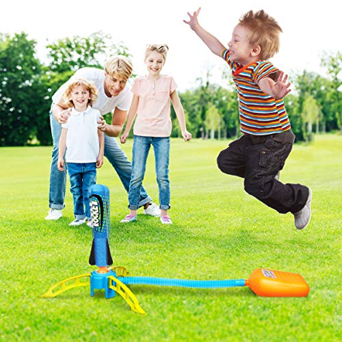 Duckura Jump Rocket Launchers for Kids, Summer Outdoor Rocket Toys with 5 Foam Rockets, Outside Games Toys Birthday Gifts for Boys Girls Toddlers Ages 3 4 5 6 Years Old