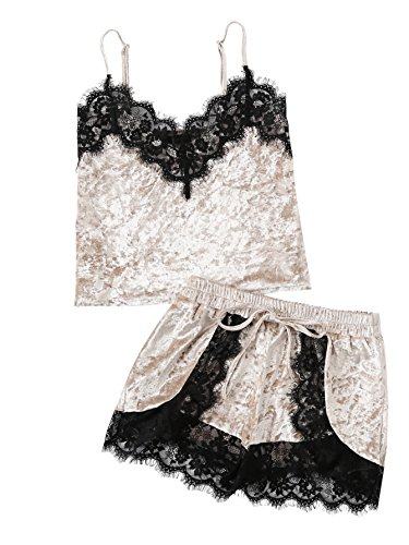 ea1068a409 Jual DIDK Women's Lace Trim Velvet Bralette and Shorts Pajama Set ...