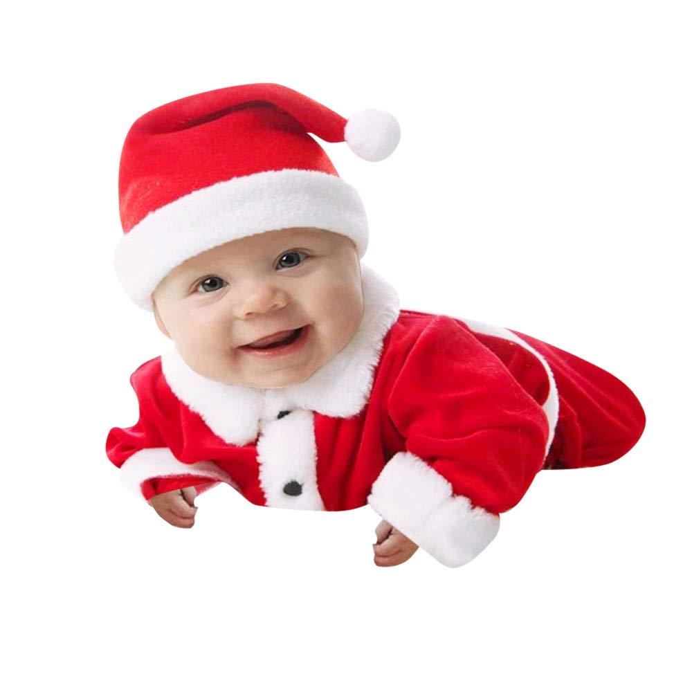 Kolylong Costume Deguisement de Père Noël hvier Unisexe Manteau Enfants Bambin bébé Filles garçons Tenue + Pantalons + Chapeau de père noël 3pcs vêtements Ensemble migon Chaud d'Noël 6 Mois à 4