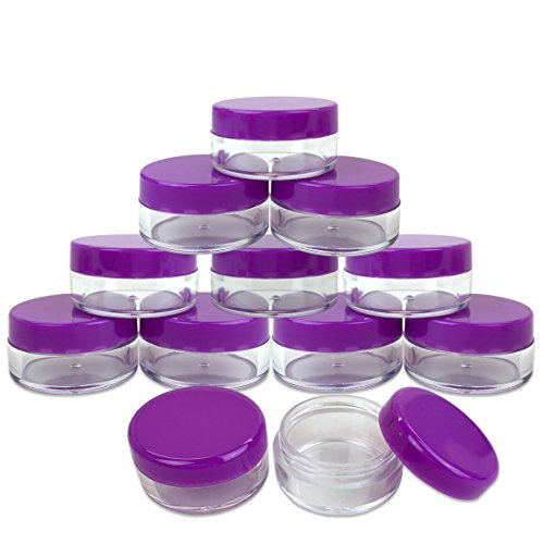 Beauticom 5G/5ML Round Clear Jars with Purple Lids for Lotio