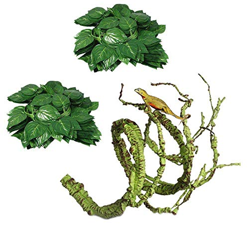 (Flexible Bend-A-Branch Jungle Vines Plastic Terrarium Plant Leaves Pet Habitat Decor for Lizard,Frogs, Snakes and More Reptiles(Pack of 3) (Reptile Vines))