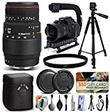 Sigma 70-300mm F4-5.6 APO DG Macro Lens for Canon (508101) + Full Size 60'' Tripod + Action Video Stabilizer + Ultra Violet UV Filter + Deluxe Cleaning Set + Lens Brush + Cap Keeper