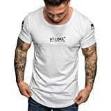aiNMkm O-Neck T-Shirts Men, Fashion Men's Summer Slim Fit Print Short Sleeved T-Shirt Top Blouse,White,XL