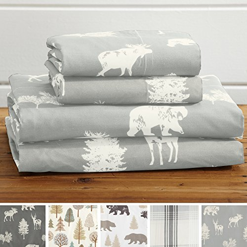 (4-Piece Lodge Printed Ultra-Soft Microfiber Sheet Set. Beautiful Patterns Drawn from Nature, Comfortable, All-Season Bed Sheets. (Queen, Forest Animal - Light Grey))