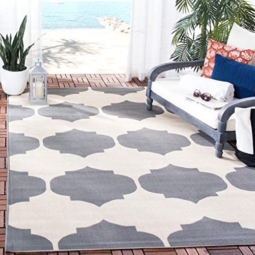 Safavieh Courtyard Collection CY6162-236 Beige and Anthracite Indoor Outdoor Area Rug 9 x 12