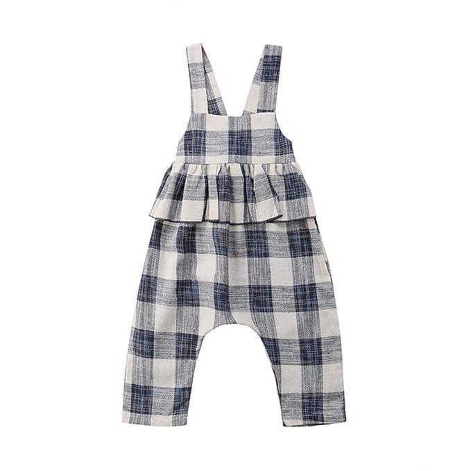 Wang-RX Moda Gris a Cuadros del niño del bebé niñas ...