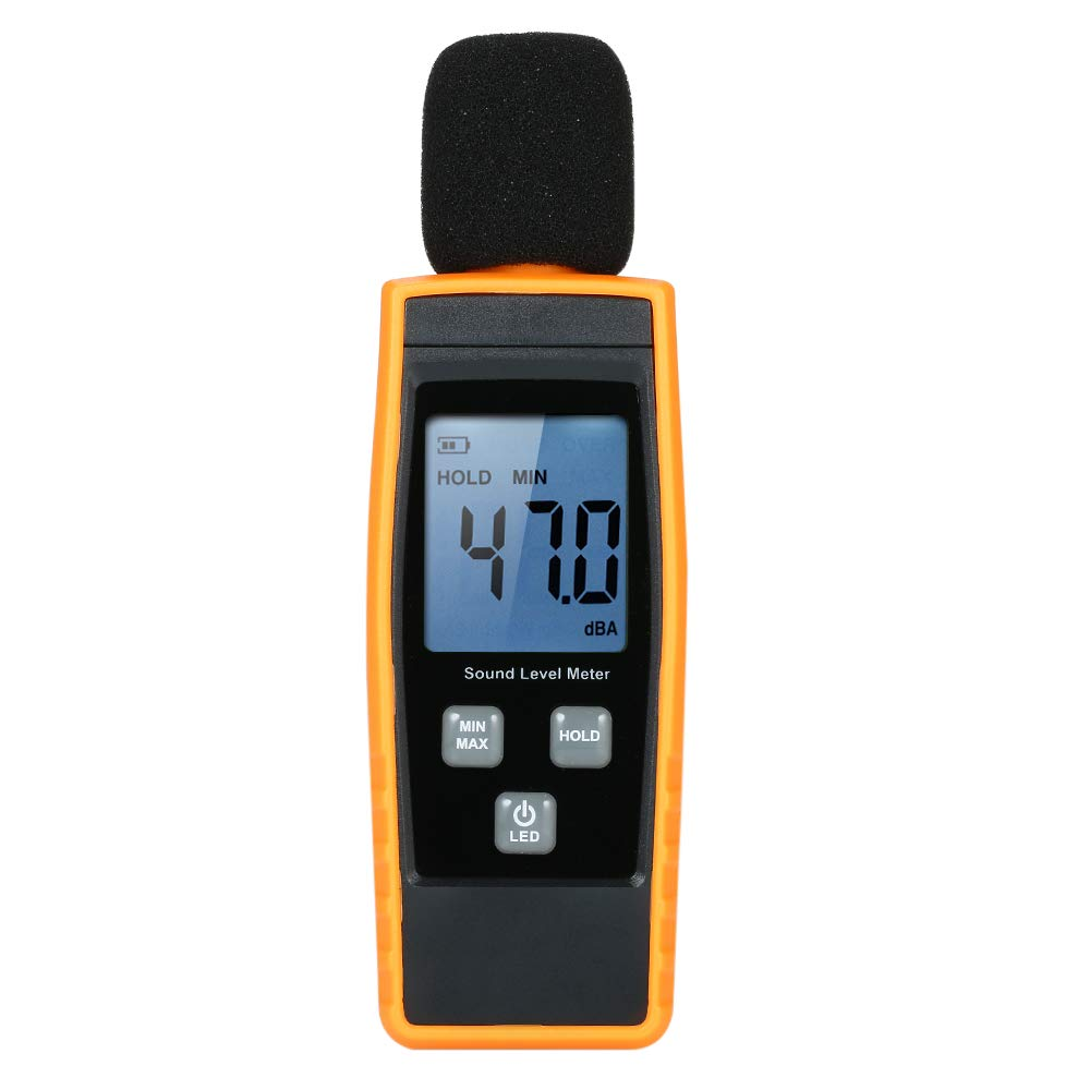 Festnight LCD Digital Sound Level Meter DB Meters 30-130dBA Noise Volume Measuring Tool Decibel Monitoring Tester with Max/Min/Data Hold Mode by FESTNIGHT