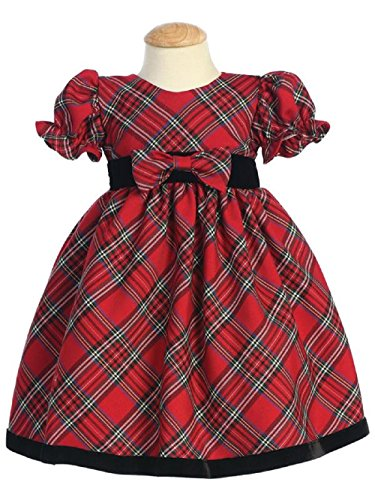 Girls Holiday Plaid Dress - Lito Girls Plaid Holiday Dress with Velvet Trim (12 - 18 months, Red)