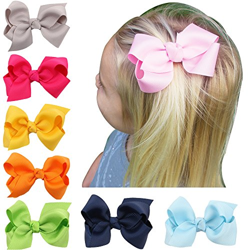3.1 inch bowknot alligator clip baby girl children hair ornament suit 8 colors
