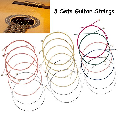 3 Set Acoustic Guitar Strings Set Ideal For Beginners And Girls, 18 Pieces (011-052) Replacement Steel Strings For Guitar, Custom Light Gauge Acoustic Guitar (Guitar Replacement)