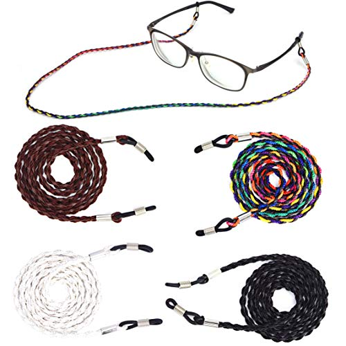 Eyeglass String Holder Chain - Premium ECO Leather Glasses Lanyards Straps Cords - Glasses Holder Necklace Around Neck for Women and ()