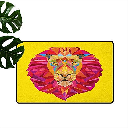"Zoo,Floor mat Colorful African Animals Geometric Diamond Face Lions Mane Safari Wildlife Theme Image 20""x31"",Indoor Super Absorbs Mud Doormat"