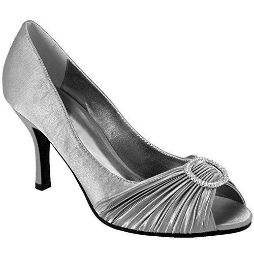 Sapphire Gris Ondulado Zapato de de Abierta Mujer de y con Detalle Zapato de con Mano Imitación Diamantes Punta para Mujer con con para Solo Tacón Efecto Broche Bolso rr4B7adqxw