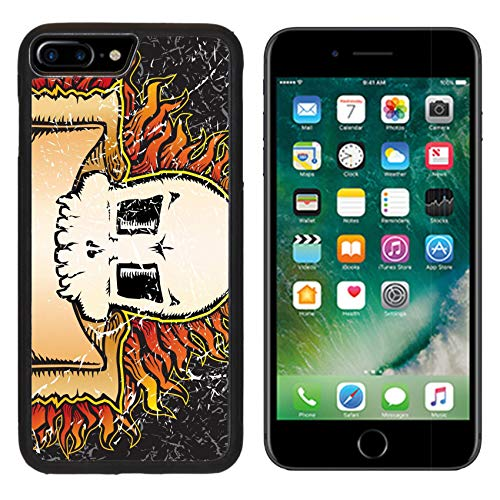 MSD Apple iPhone 8 Plus Case Aluminum Backplate Bumper Snap Case Image ID: 3590036 Flaming Skull Grunge