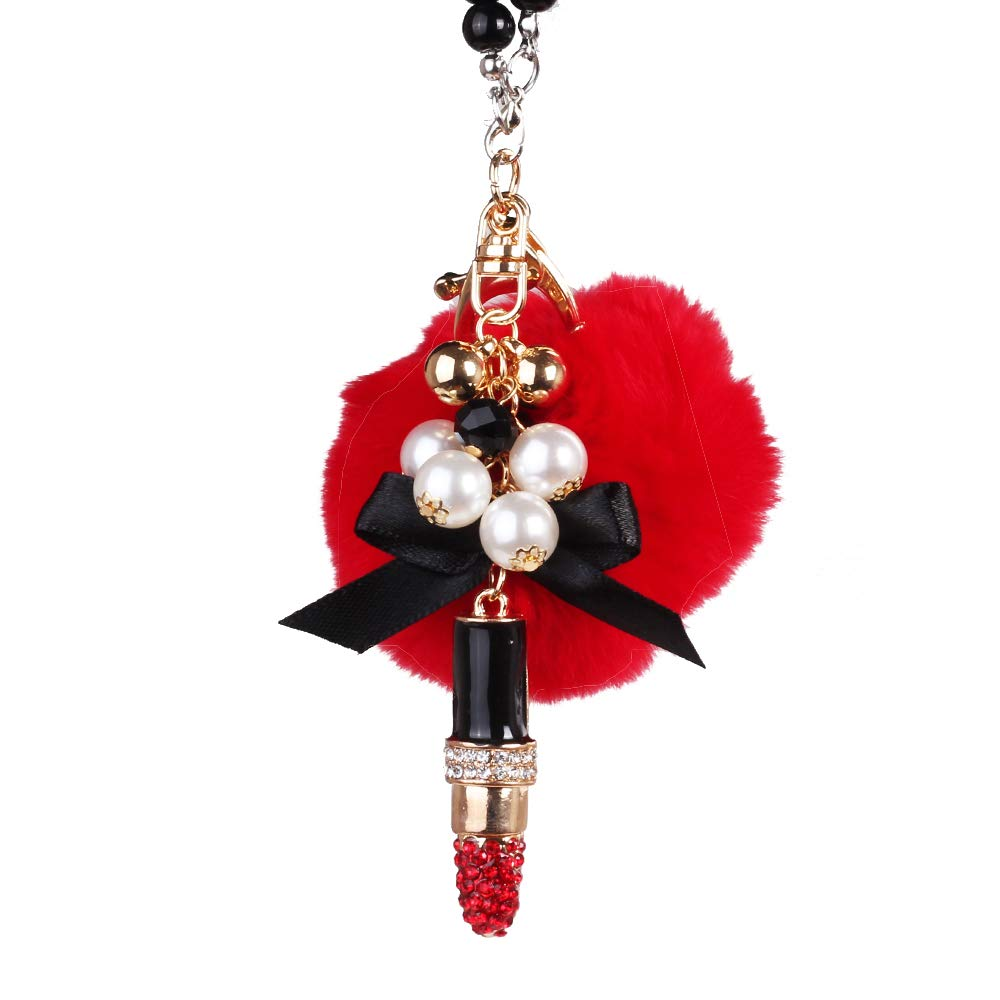 MINI-FACTORY Car Interior Hanging Ornament Crystal Red Lipstick Rearview Mirror Hanging Bling Charm Girly Decoration for Car//Home//Office