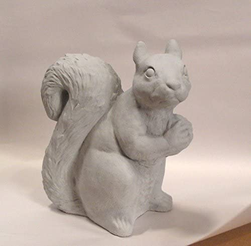 SQUIRREL SITTING 11″ Statue GRAY CONCRETE Natural Stone Finish OUTDOOR Indoor GARDEN Statuary CAST CEMENT Made
