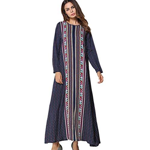 YouPue Damen Herbst Lange Ärmel Stickerei Kleid Rundhals Langer Rock  Stricken Lose Langes Kleid Navy Blau f9b966b243