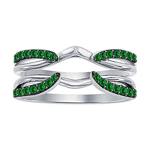 Dabangjewels 1/4 ct Green Emerald Enhancer Solitaire Engagement Ring 925 Sterling Silver Plated Guard Wrap Jacket by Dabangjewels