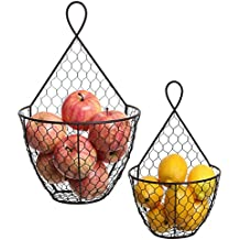 (Set of 2) Wall Mounted Brown Country Rustic Style Chicken Wire Metal Baskets / Hanging Display Holders