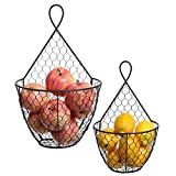 Cheap (Set of 2) Wall Mounted Brown Country Rustic Style Chicken Wire Metal Baskets / Hanging Display Holders