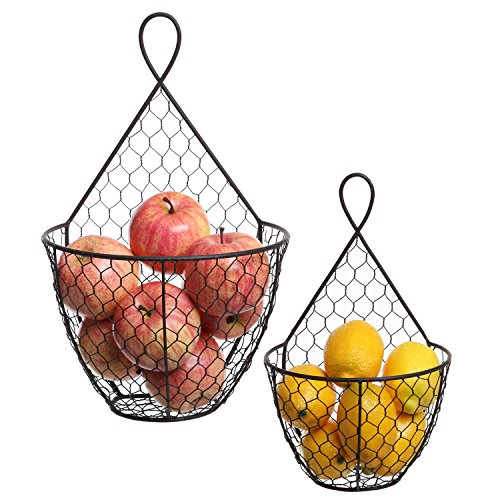 Vegetable Chicken Country (MyGift (Set of 2) Wall Mounted Brown Country Rustic Style Chicken Wire Metal Baskets/Hanging Display Holders)