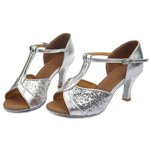 baile SWDZM ES de Ballroom Zapatos Lentejuelas baile Mujer Plateado 7cm modelo latino de Tacón Zapatos 259 de estándar tqUqrp