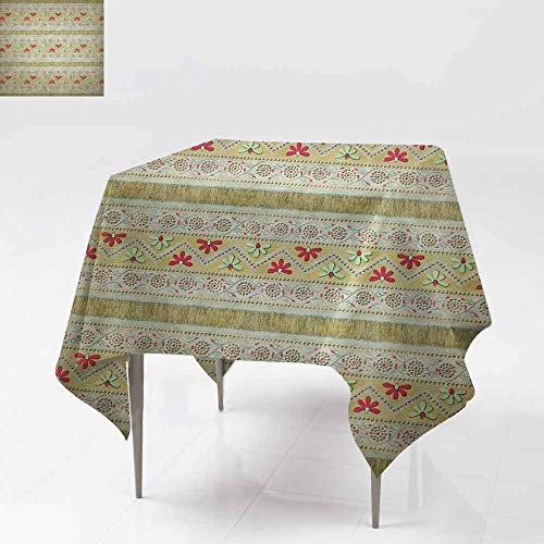 Fbdace Spillproof Tablecloth,Wallpaper Pattern with Floral Elements and srtipes Great for Buffet Table, Parties& More 54x54 Inch ()