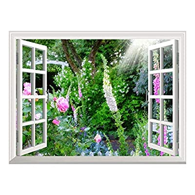 Wonderful Technique, Removable Wall Sticker Wall Mural Wild Flowers in Spring Creative Window View Wall Decor, Classic Design