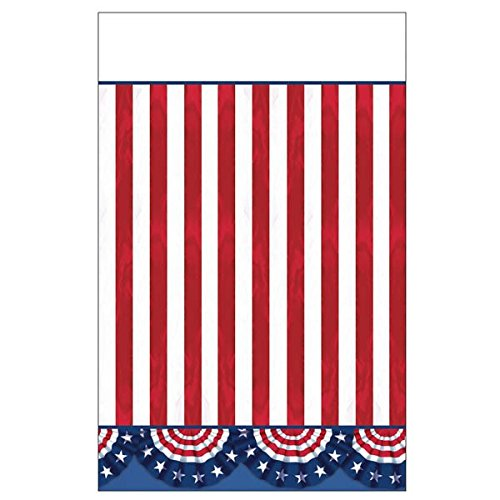 "American Pride Patriotic 4th of July Party Table Cover Picnic Tableware, Plastic, 54"" x 84"", Pack of 3."