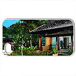 Beautiful Beach Villa - Case Cover for iPhone 4 and 4s (Beaches Series, Watercolor style, White)