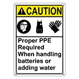 Weatherproof Plastic Vertical ANSI Caution PPE Required When Handling Batteries Sign with English Text and Symbol