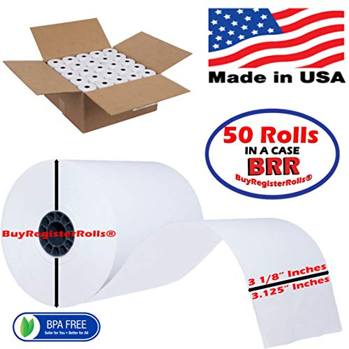 3 1/8 x 230 Thermal Paper roll 50 Pack Cash Register Rolls BPA Free Made in USA from BuyRegisterRolls ()
