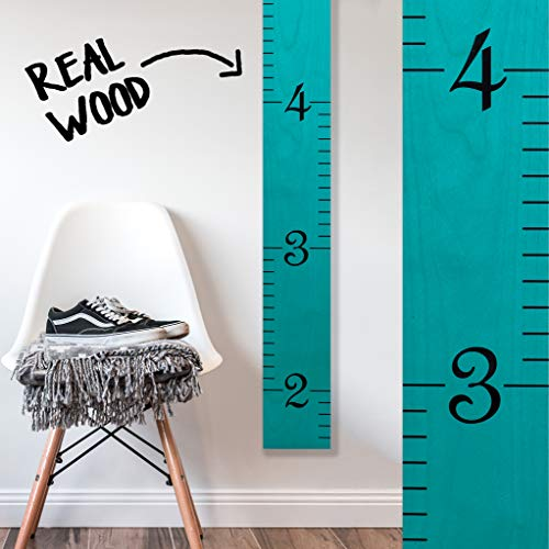 Growth Chart Art | Growth Ruler Wood Chart for Boys & Girls | Height Ruler | Measuring Kids Height Wall Décor | Kids Ruler in Robins Egg Blue -