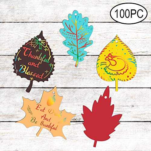 Thanksgiving Party Leaves Decorations Colorful Magic Color Scratch Fall Leaves For Kids Happy Fall Autumn Harvest Party Games Supplies Decorations100 Pack
