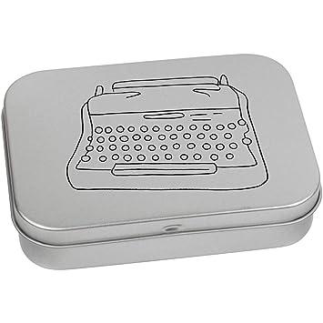 Azeeda 110mm x 80mm Máquina de Escribir Caja de Almacenamiento / Lata de Metal