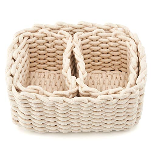 Perfect for Storing Small Household Items White EZOWare Set of 3 Decorative Woven Cotton Rope Baskets and Storage Organizer