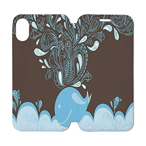 Whale Leather Phone Case,Baloon Like Whale in The Ocean with Bubbles Cartoon Batik Tribal Style Image Compatible with iPhone Xs Max, iPhone Xs ()