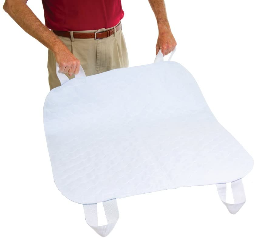"Essential Medical Supply Quik-Sorb 34"" x 35"" Brushed Polyester Reusable Underpad with Nylon Positioning Straps"