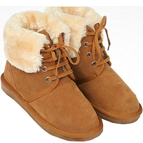 Nieuwe Mooda Snow Winter Warm Women Lace Up Korte Leren Laarzen Schoenen Camel